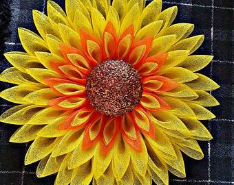 Photo of Sunflower wreath, deco mesh wreath, flower wreath, mothers day, home decor, floral, faux flower, deco mesh flower, deco mesh