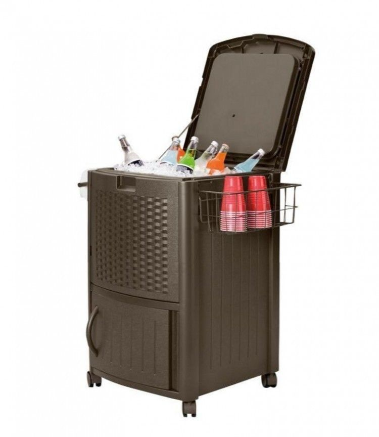 Rolling Cooler Ice Chest Patio Deck Beverage Food Home Party Storage Wicker Cart #Suncast