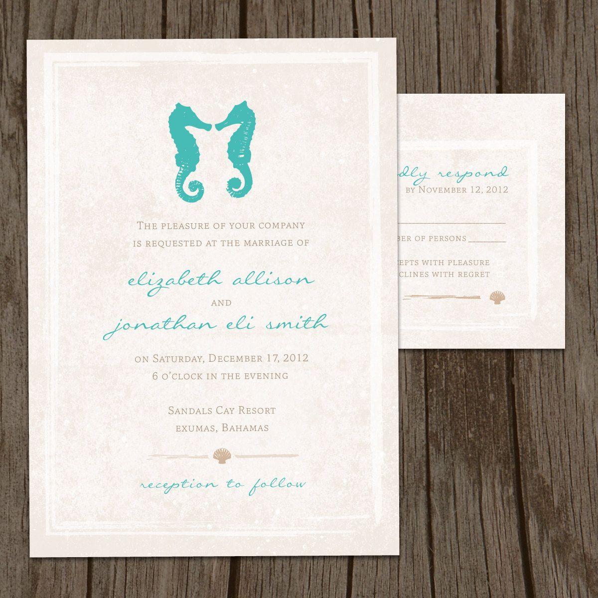 Kissing Seahorses Modern Wedding Invitation & RSVP (DIY / PRINTABLE ...