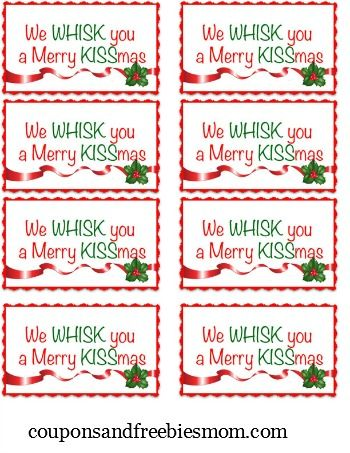 graphic relating to We Whisk You a Merry Kissmas Printable Tag known as Do it yourself Holiday vacation Reward: We Whisk Yourself A Merry KISSmas - Coupon codes and
