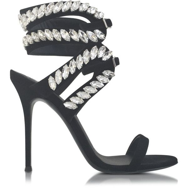 Giuseppe Zanotti Shoes Black Suede High Heel Sandal w/Crystals featuring polyvore, women's fashion, shoes, sandals, heels, black sandals, black suede shoes, black ankle wrap sandals, black ankle strap sandals and suede shoes
