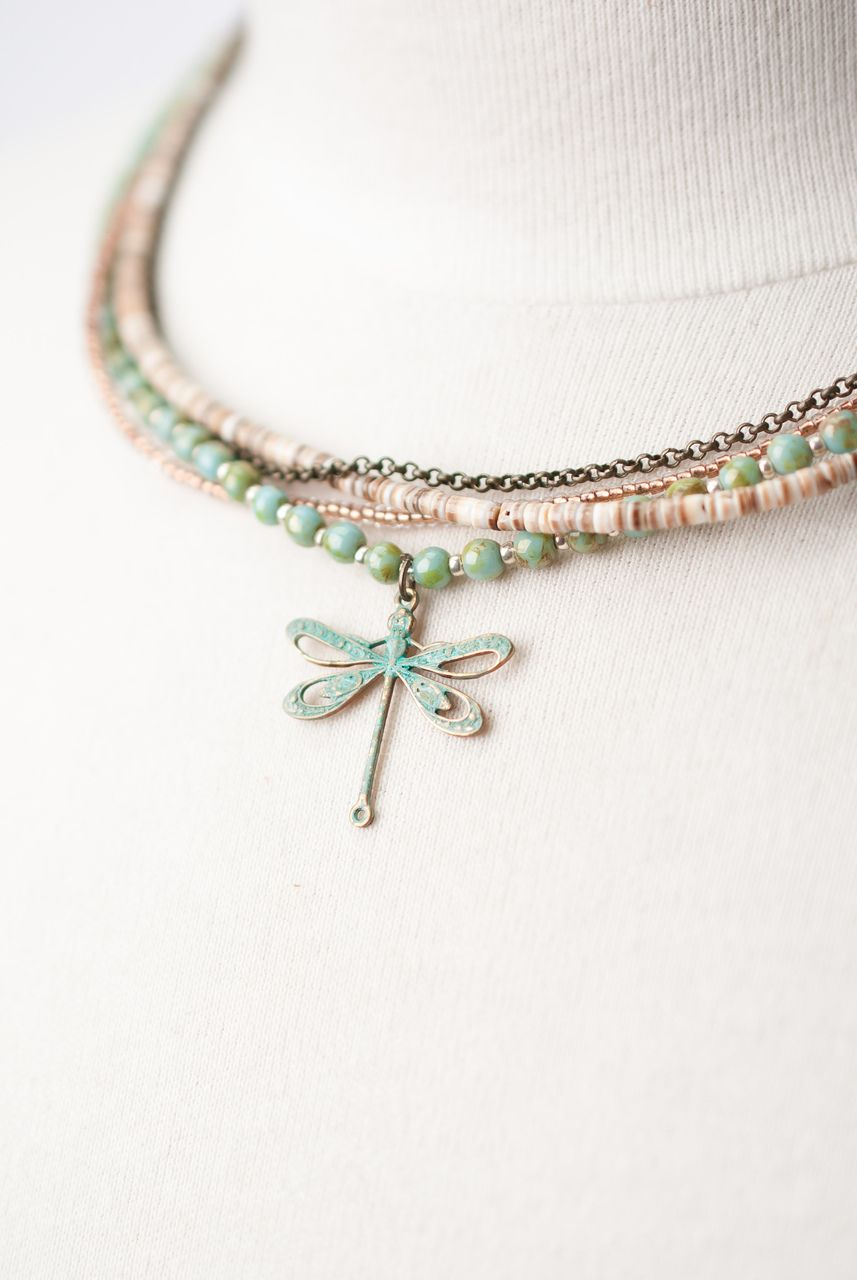 Photo of Rustic Creek 17.5-19.5″ Multistrand Dragonfly Necklace