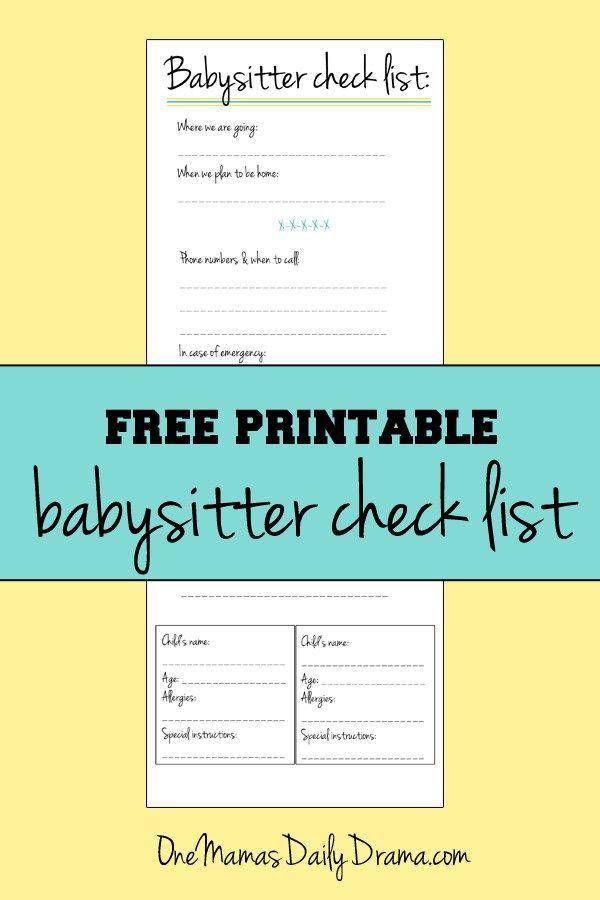 Printable babysitter checklist Babysitter checklist, Free