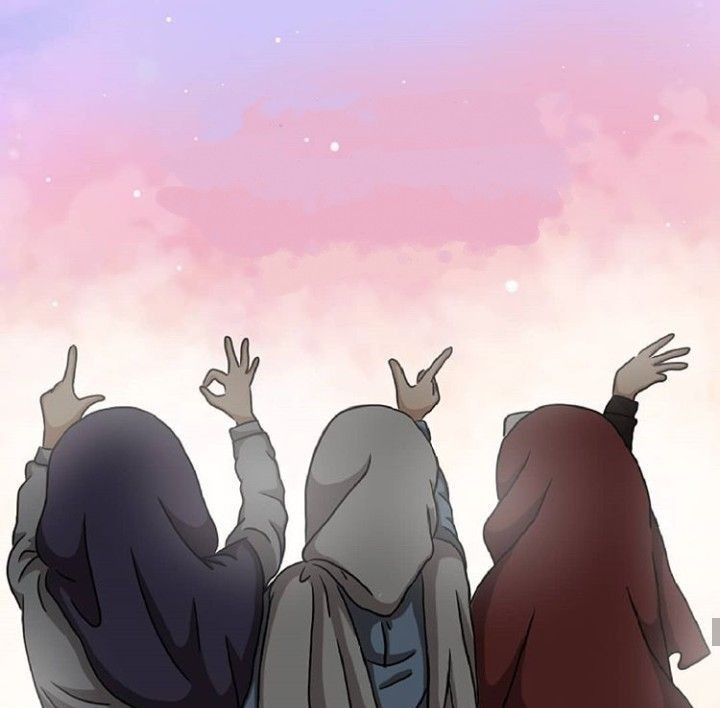 Cute Hijab Friends Cartoon Novocom Top