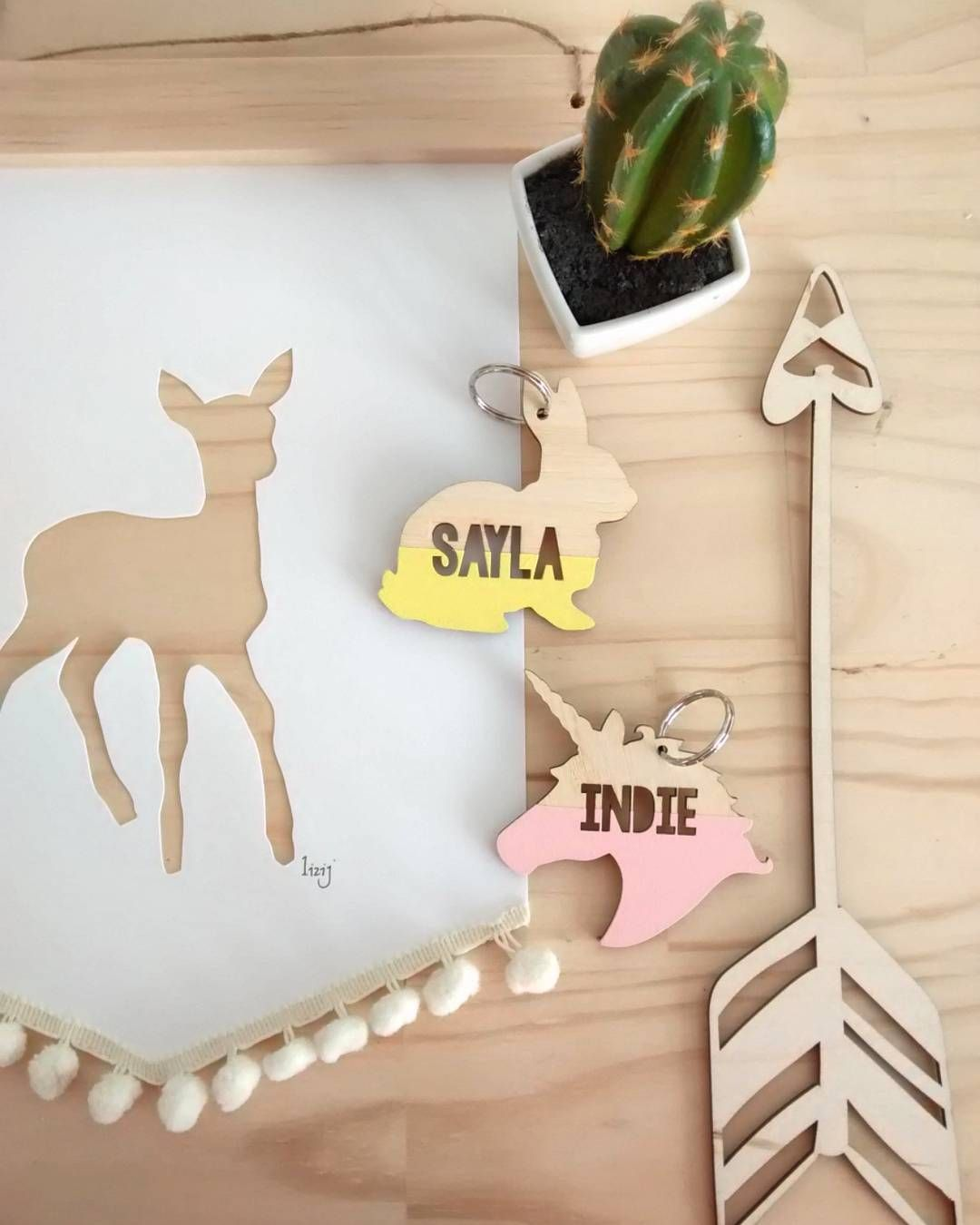Love my girls new school bag tags from @lovefromseventeen  and our Bambi art is heading to its new home. Let me know if you want one.  #creative #flatlay #nzmade #deer #unicorn #bunny #tags #handmade #art #simplicity #style #wood #cutout #bambi #animal #cactus #texture #kids decor #decor #wallart #wallhanging by l.i.z.i.j