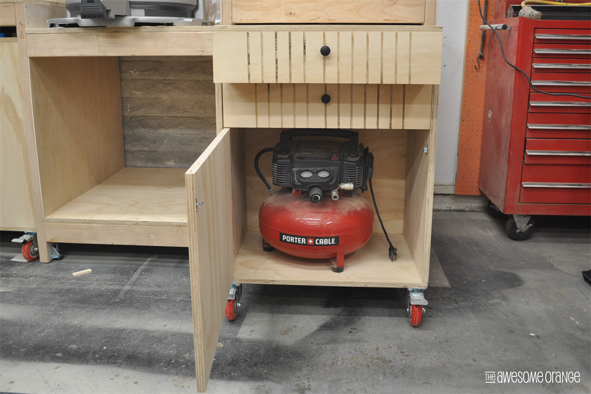 A mobile workbench that stores your air compressor, all