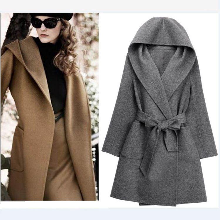 UK-2014-Winter-New-Fashion-Women-Black-Grey-Brown-Hooded-Belt ...