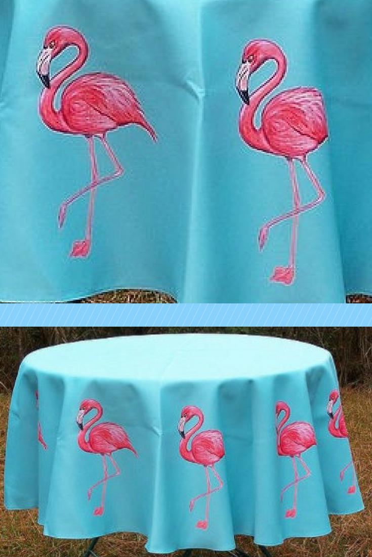 Betsy Drake Pink Flamingo 68 Inch Round Table Cloth #ad #flamingos # Tablecloth #