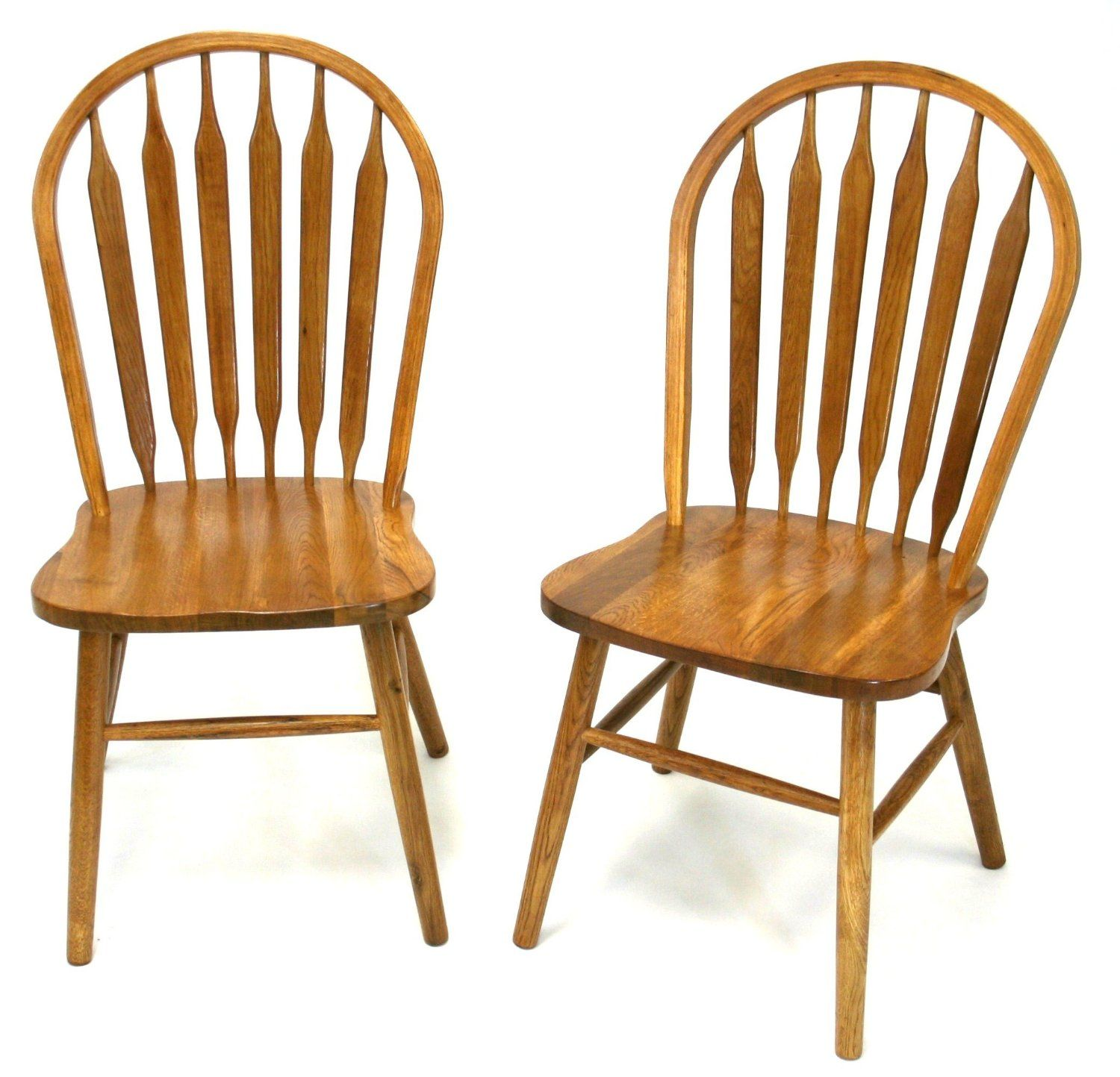 Solid Oak Windsor Chairs Arrow Back Wooden Kitchen Chairs