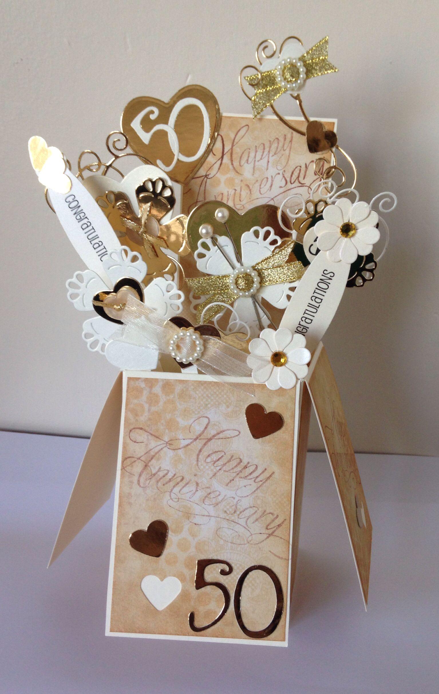 50th Wedding Anniversary card box pop up card