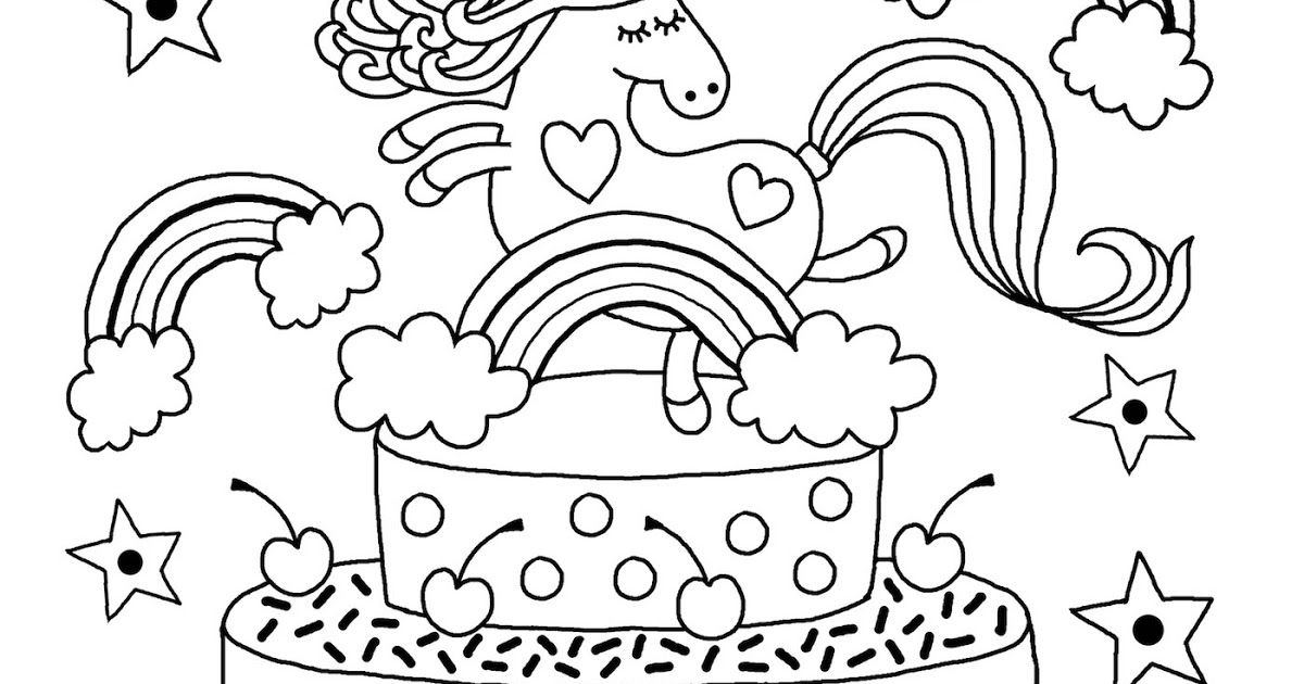 Happy Birthday Unicorn Cake Coloring Pages In 2020 Unicorn