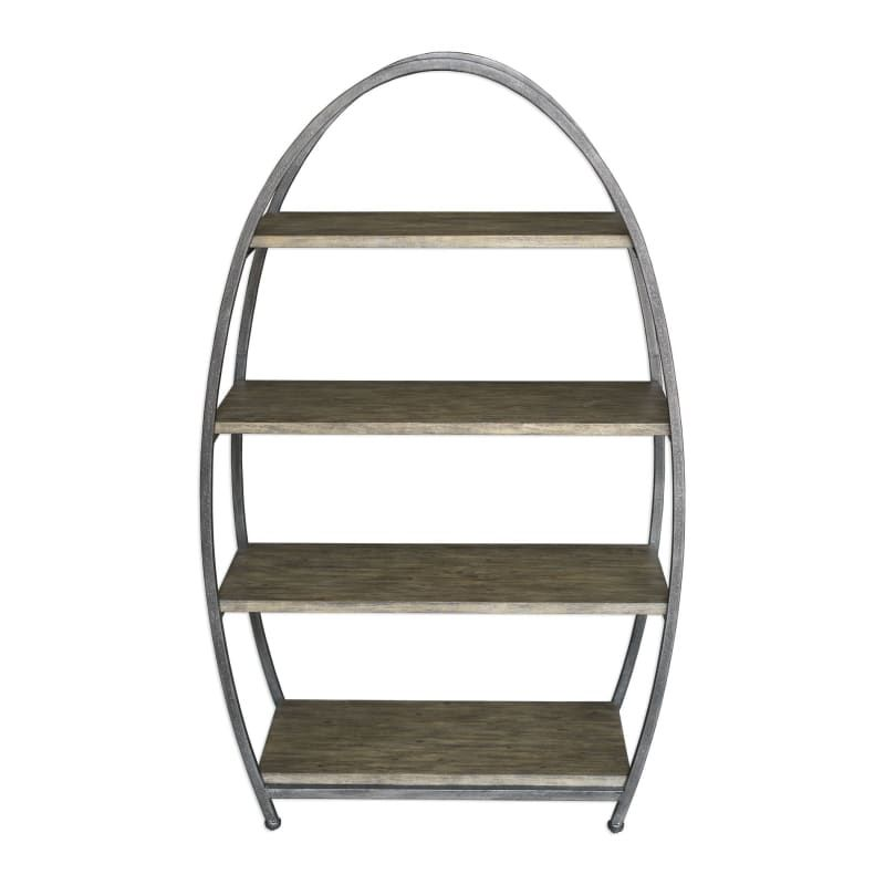 Uttermost 25939 Matisa 32 Inch Wide Metal Shelving Unit With Acacia Veneer Shelv Textured Steel Furniture Storage Shelving Un Metal Shelving Units Metal Shelves