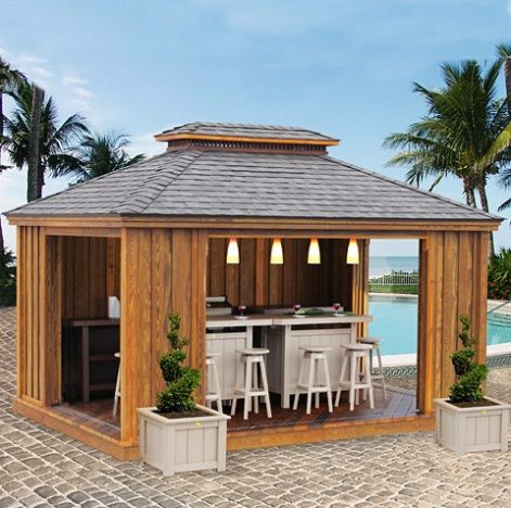 Solid Wood Handcrafted Pavilion Style Outdoor Kitchen