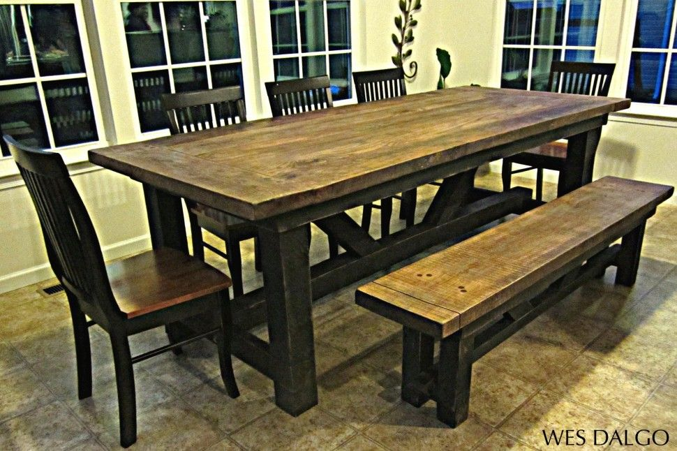 Furniture Modern Rectangle Brown Textured Wood Rustic Farmhouse Table Design With Rectan Wood Dining Room Table Wooden Dining Room Table Farmhouse Dining Table