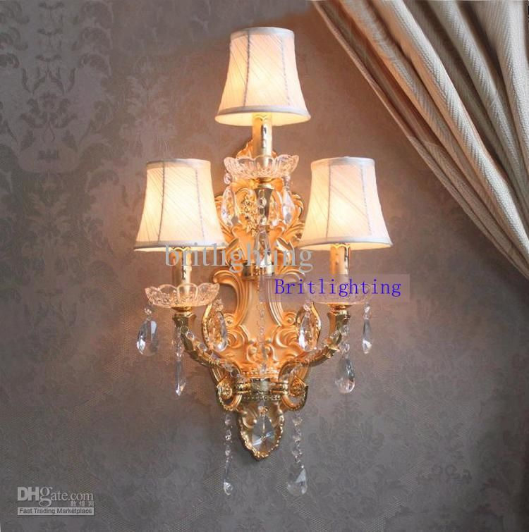 Modern Wall Lamp Crystal Home Large Sconce Gold Finish Wall Sconces LED  Crystal Wall Light With Fabric Shade Hotel Bathroom Mirror Light