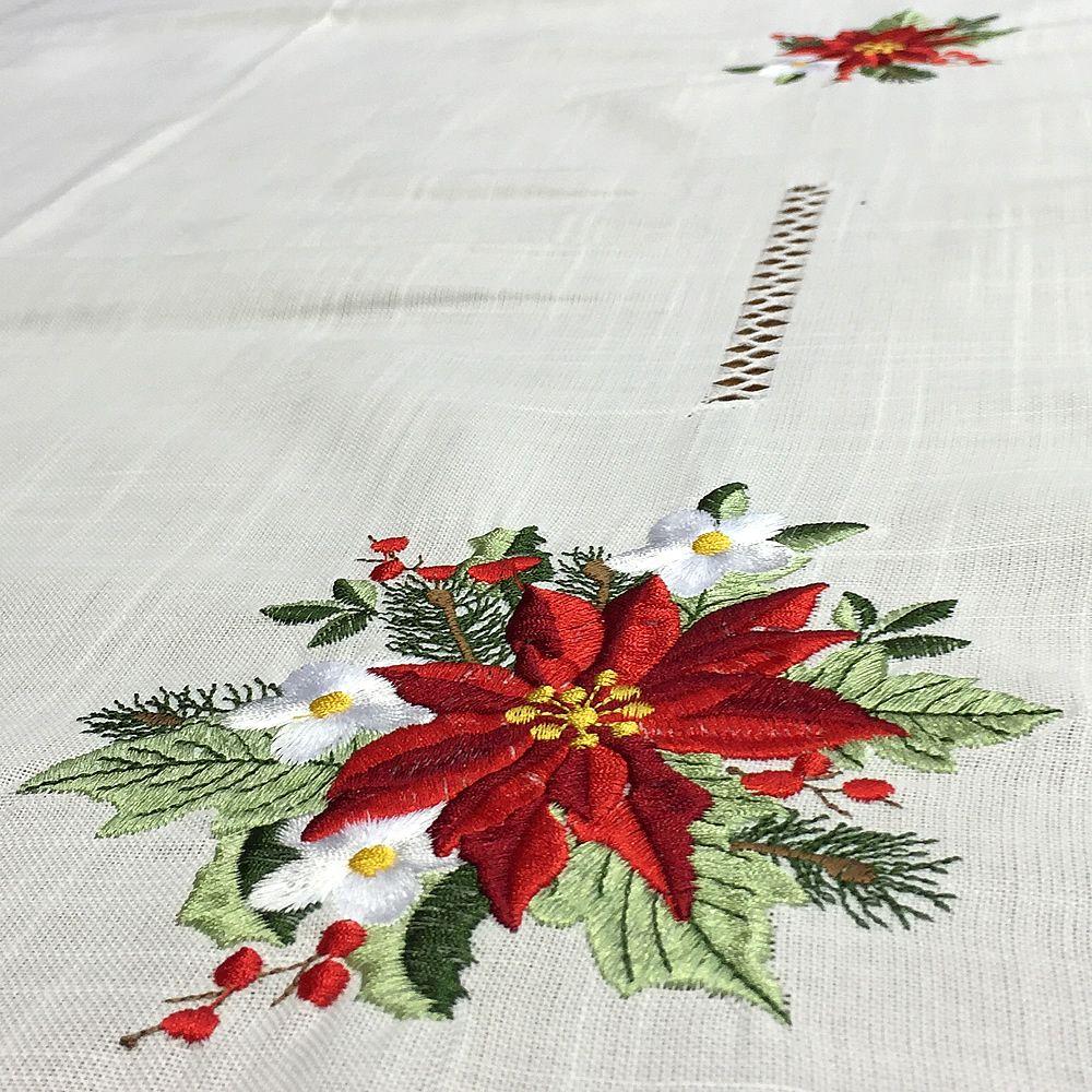 Mantel de navidad bordado a mano con un dise o de flores - Plantas de hojas verdes ...
