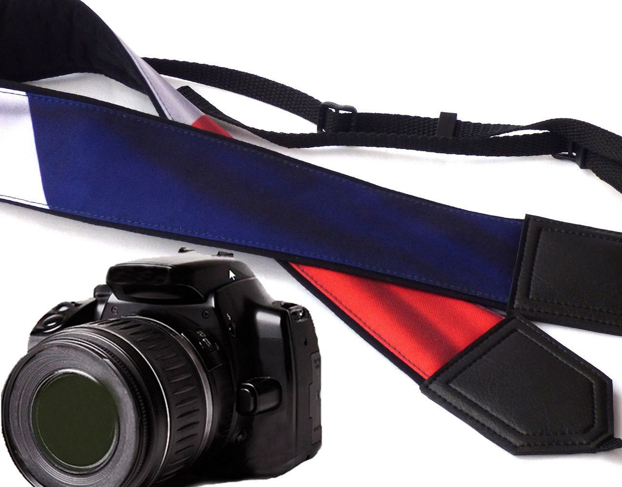 French flag camera strap. France. Blue, white, red DSLR / SLR Camera Strap. Camera accessories by InTePro