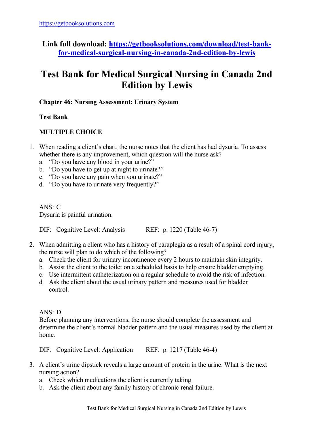 Test Bank For Medical Surgical Nursing In Canada Nd Edition By