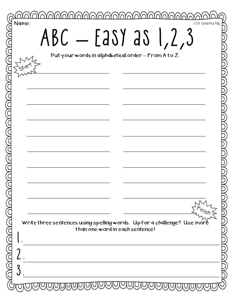 Word Work Freebie Alphabetical Order Use With Any Words Spelling Word Activities Word Work Word Activities