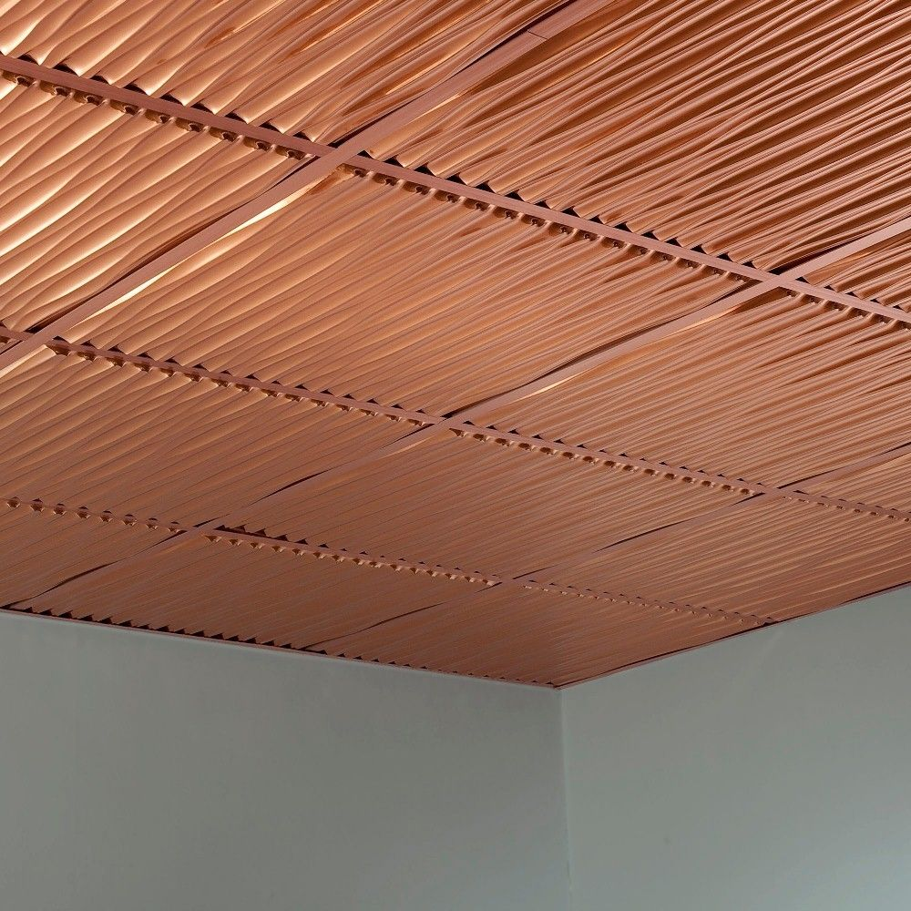 Fasade Dunes Polished Copper 2 Foot Square Lay In Ceiling Tile