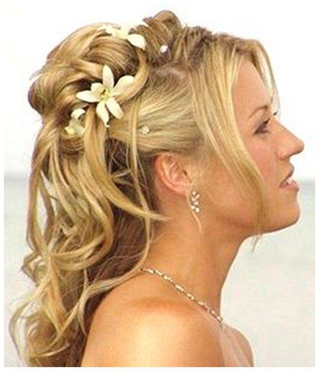 Beach Wedding Half Updos Wedding Hairstyles For Medium Length