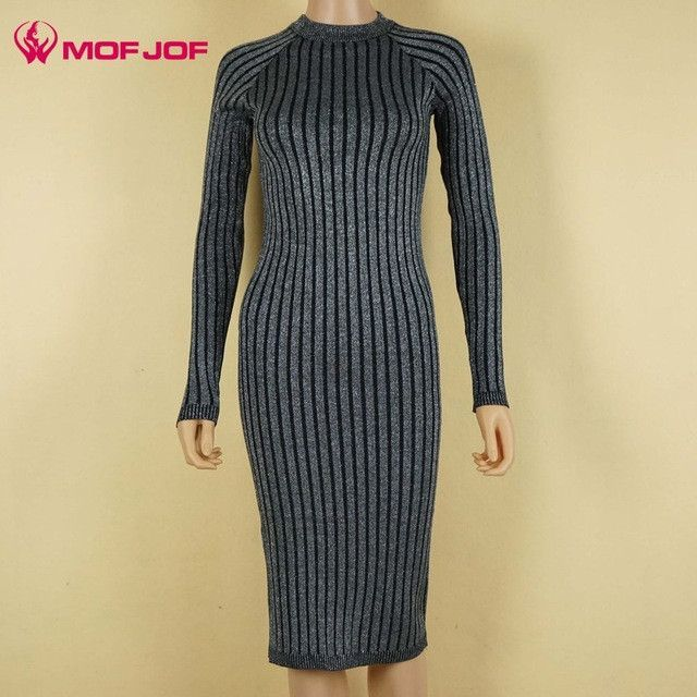 96b0fd5b1a2d4 Women sweater dress 2017 spring autumn long sexy Bodycon Dresses Elastic  Skinny twinkle Knitted Dress vestidos