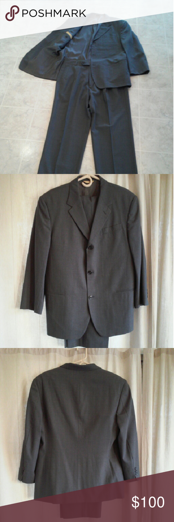 """Men's dress suit Donna Karan Italy 100% wool Beautiful like new men's grey dress suit by Donna Karan made in Italy. This suit is 100% wool the tag says length/size is regular 42\35. Pants are pleated and waist measures 35"""" and inseam is 30"""". Top jacket pocket is still sewn closed. Perfect condition except for very light initials on inside of jacket. Of course this will not show when worn and may come out when cleaned. This is the Gold Label Signature Style. BTW Bill Clinton wore a lot of…"""