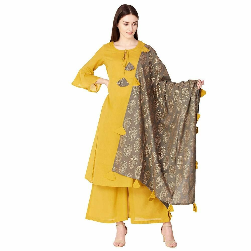 b06aa4dd1 Indian Kurta with Dupatta Palazzo Kurti Dress Set Women Ethnic Top Tunic  Bottom