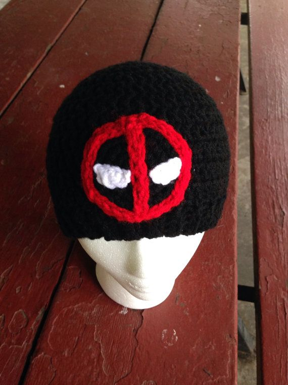 Marvel Deadpool Inspired Crochet Hat Black Beanie by Outstitched ... fc05f2edac5