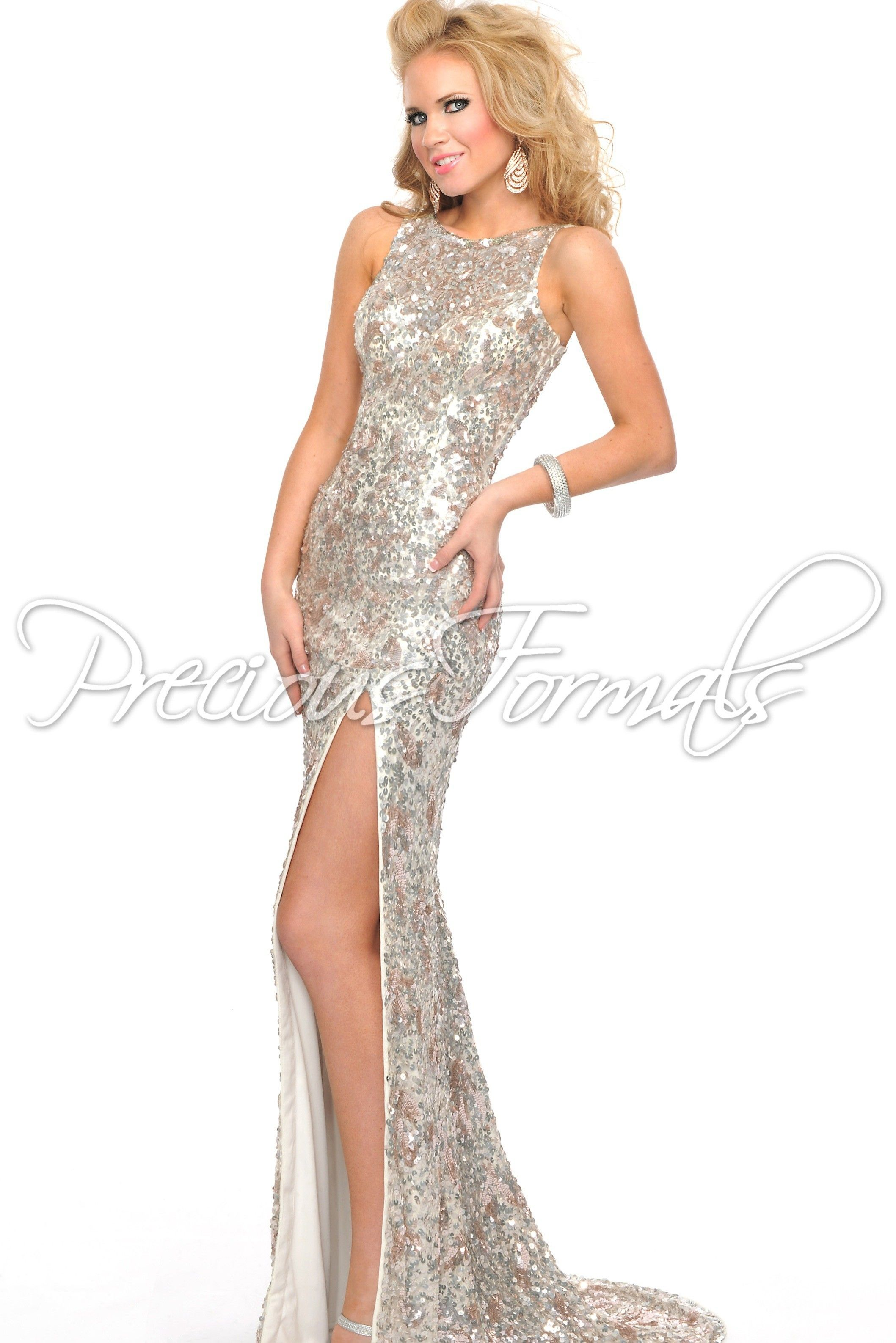 Low Cowl Back Sparkly Sequin Prom Dress with a High Slit - Lux Gal ...