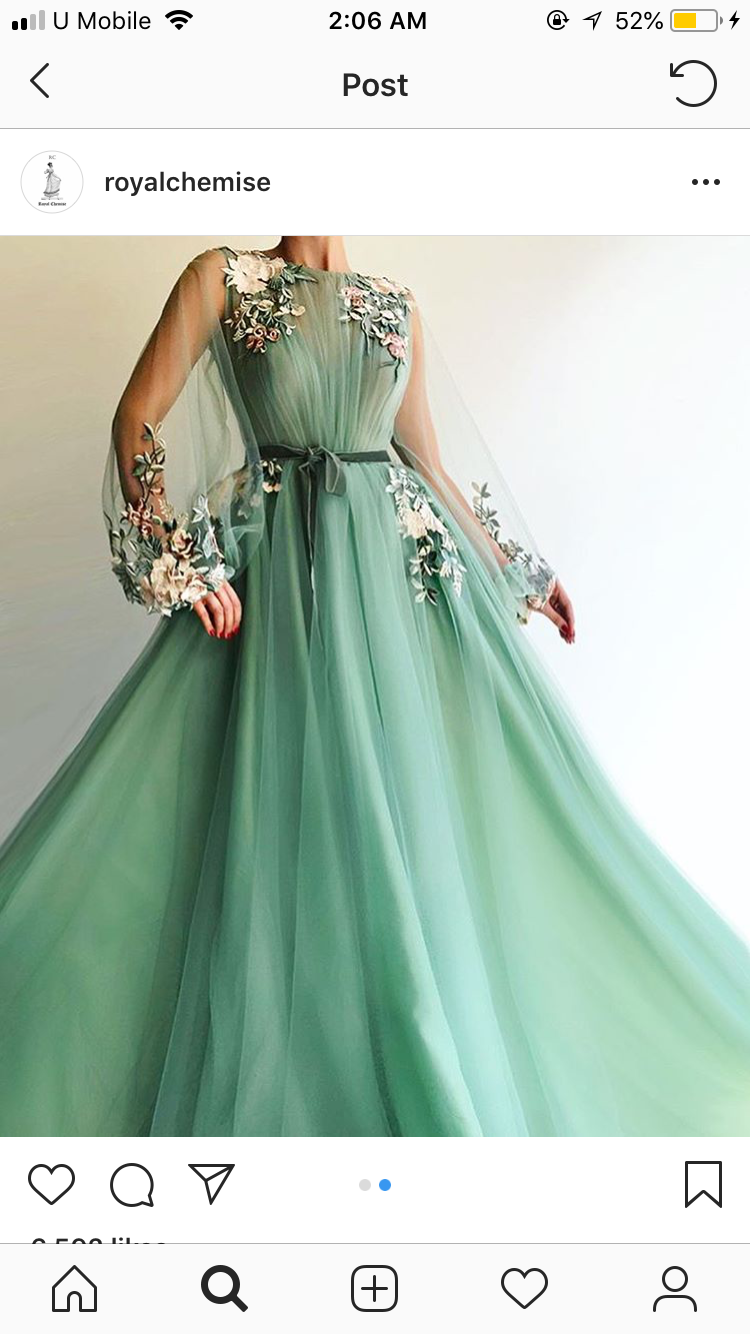 25692678568b Details - Light green color - Tulle fabric - Handmade embroidery flowers -  Ball-gown dress with long sleeves - Party and evening dress