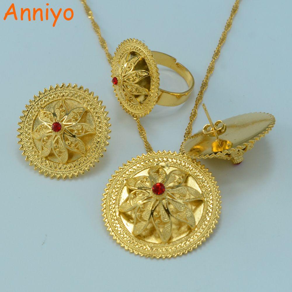 Anniyo Ethiopian Wedding Sets Jewelry Gold Color Ethiopia Necklace