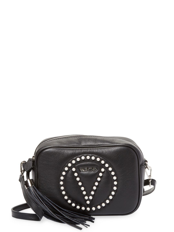 Mia Pearl Studded Crossbody Bag In Black Pearl Studs Mario Valentino Crossbody Bag