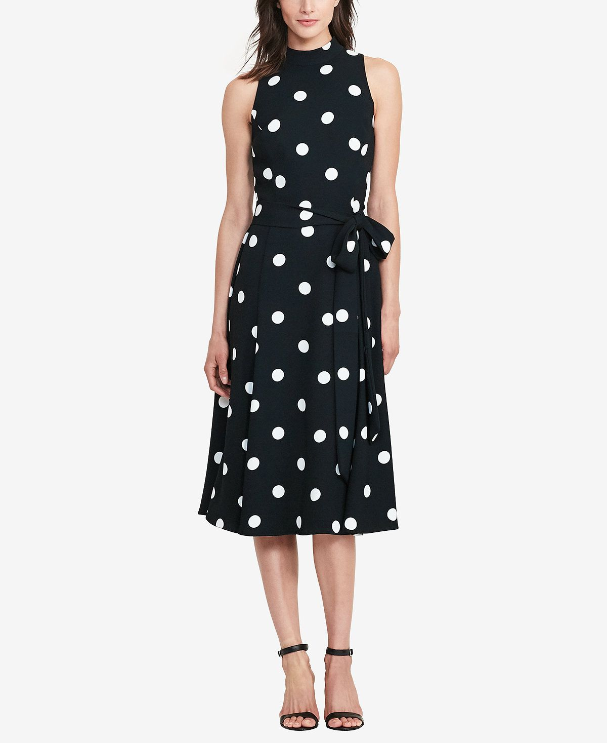 Lauren ralph lauren polkadot crepe dress dresses women macyus