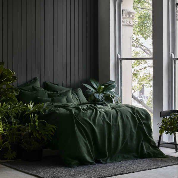 Linen Duvet Cover Set Forest Green Green Duvet Covers Green Duvet Bed Linens Luxury