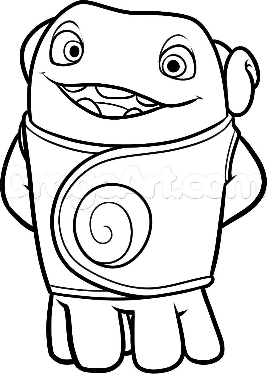 how to draw oh from home step 11 Dreamworks home