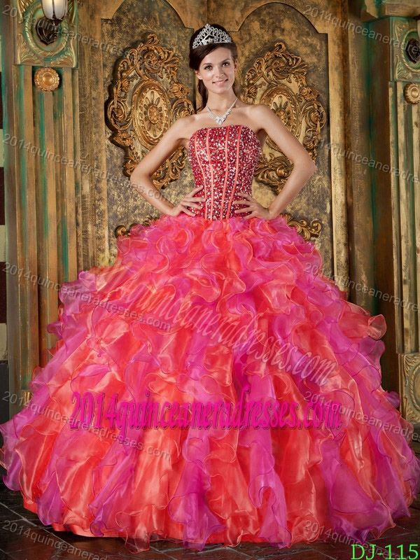 52629f1090 Exquisite Multi-Color Strapless Quinceanera Dress in Organza with Beading