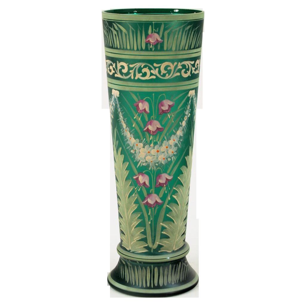 Antique enameled green glass vase shop rubylane pottery antique enameled green glass vase shop rubylane reviewsmspy