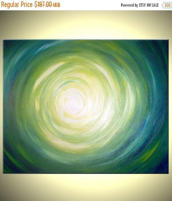 Abstract Green Original Painting - Modern Art - Green Yellow