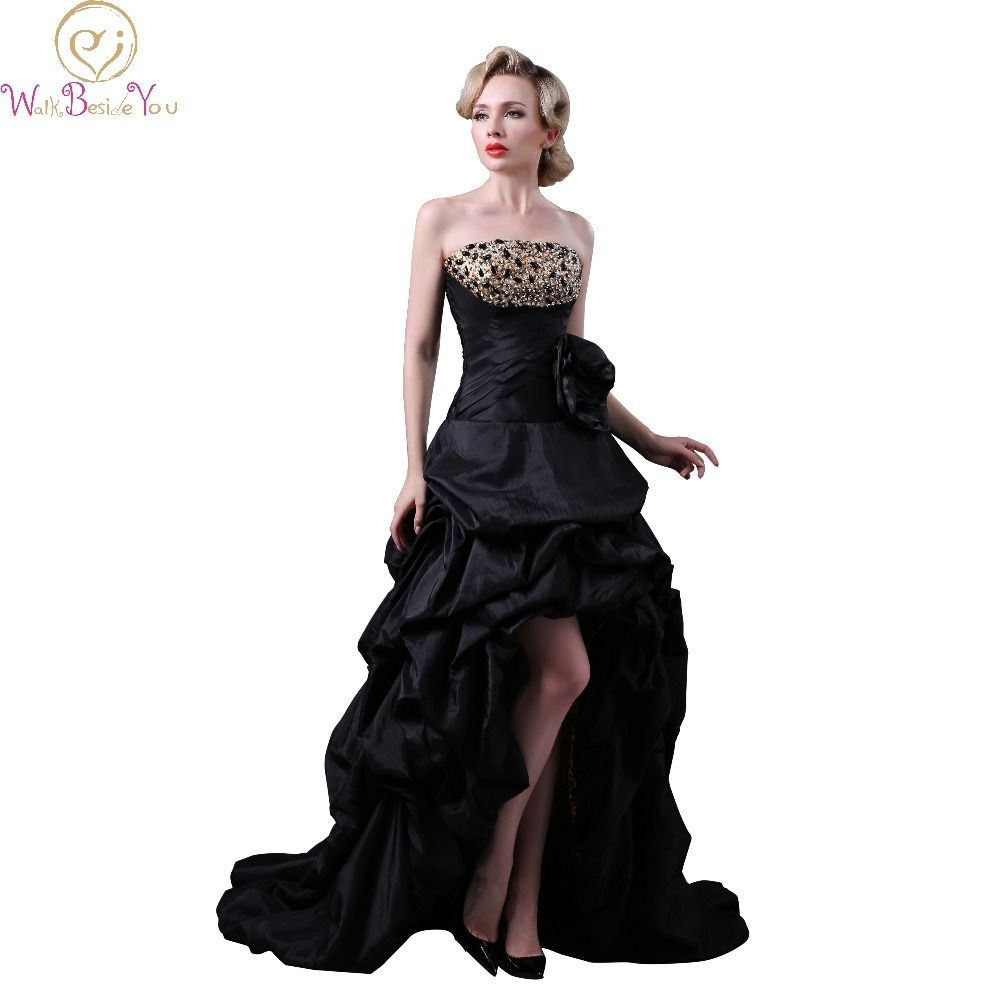 Aline in Front Short in Back Long Prom Dresses Beeded