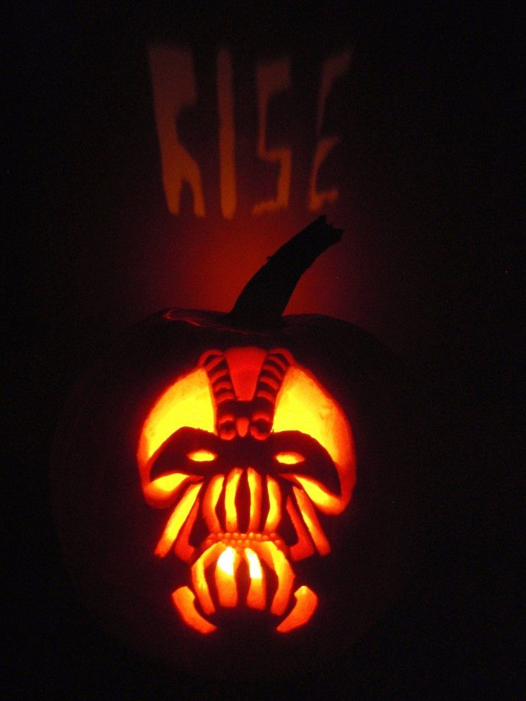 Dark Knight Rises Bane Pumpkin I Like The Word Carved On The