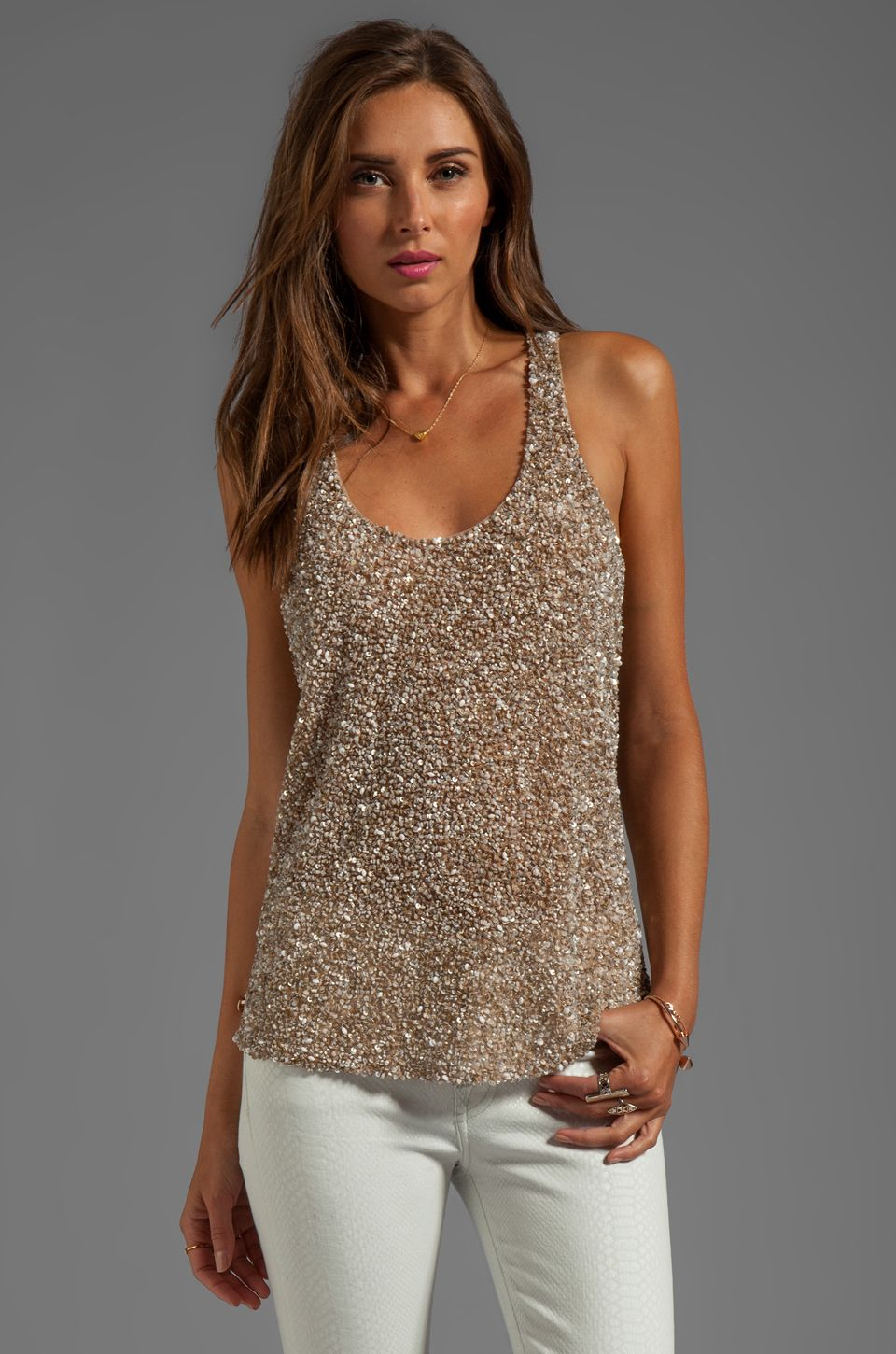 PARKER Leah Sequin Tank in Nude at Revolve Clothing - Free