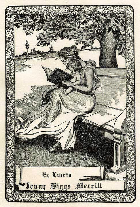 Bookplate by Haydon Jones for Jenny Biggs Merrill (1903)