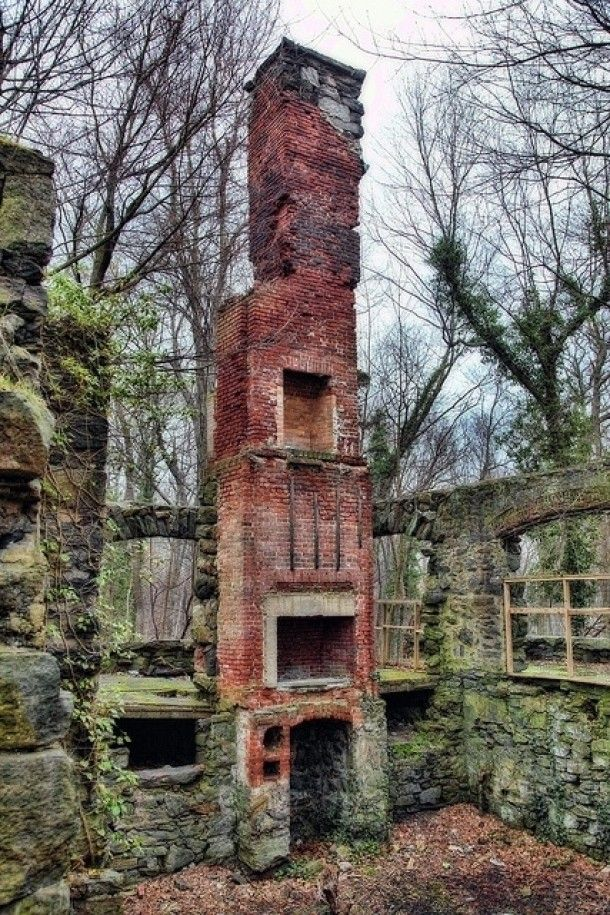 Multistory Fireplace And Stone Foundation Abandoned