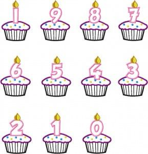 Free Applique Cupcake Candles Number Set | applique for