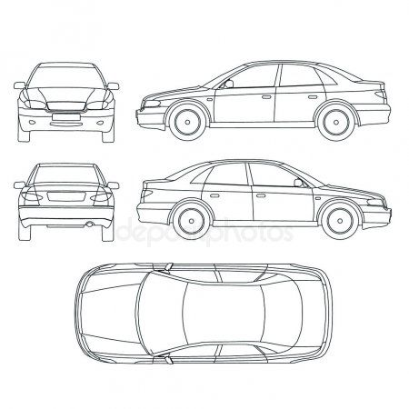 Car line draw insurance rent damage condition report form  Stock Vecto