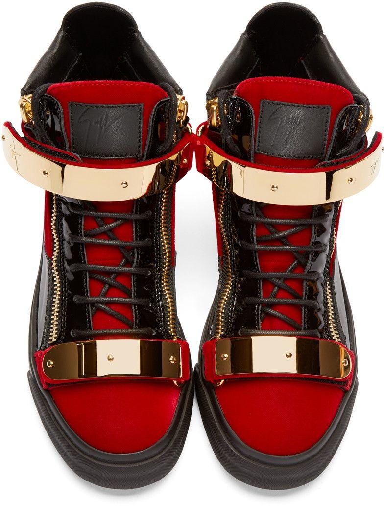 4b134961bf3f Giuseppe Zanotti - Red   Black Velour High-Top London Sneakers ...