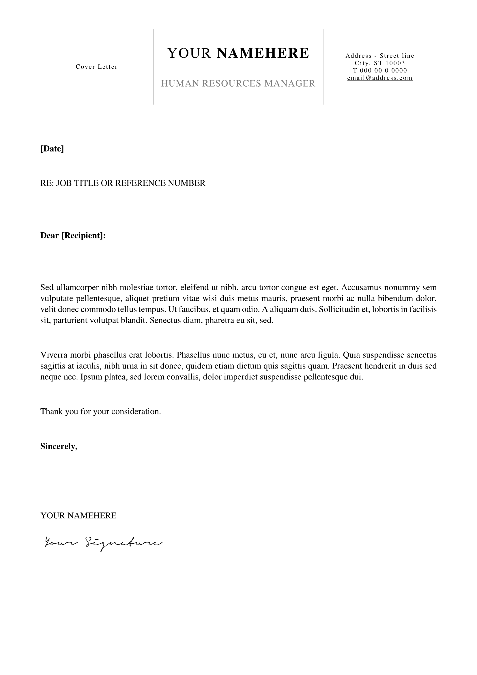 Kallio  Free Simple Cover Letter Template For Word Docx  Basic
