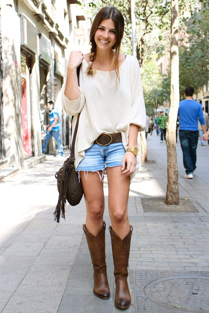 Cowgirl boots and shorts with a side braid! so classy and chic!