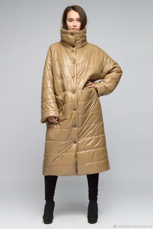 02f287335fe2 Купить Пальто-одеяло стеганое темный беж на шерстяной основе (арт. 6223) в